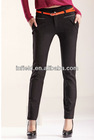 Ladies basic legging in black with front leather design