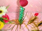 wooden Palm fringe heart picks for food decoration