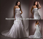 High Quality Scoop neckline Wedding Gown with bubble hem train