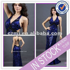 Long sequin fabric backless sexy evening dress 2012