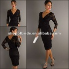 QNPD12208-B 2012 New Style Short Black Lace 3/4 Sleeve V-Neck Cocktail Dress