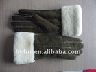 BY-T001 Ladies Double Face Sheepskin Gloves with perfect quality
