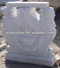 White marble table base