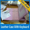 leather case for iPad2 with bluetooth keyboard magnetic stand
