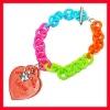 Multicolor acrylic heart bracelet plastic chain bracelet