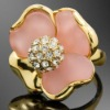ARINNA Gold Plated Clear Crystal Rose ring Fashion Rings Jewelry J1588