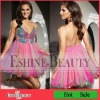 Hot Sale Colorful Beaded Sexy Back Open Organza Cocktail Dress