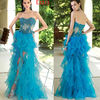 2013 Sexy Fashion Turquoise Sweetheart Neckline Sheered Midriff Organza Ruffles Skirt Prom Dress
