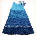 Fashion sleeveless taffeta summer flower party dress for girls