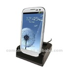 Multi-function double dock power station phone sync charging cradle for Samsung Galaxy S3 i9300