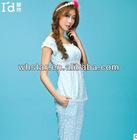 femail's cotton short-sleeve sleepwear with lace woman cotton sleepwear