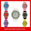 Wholesale silicone jelly watch geneva diamond watch with 12 colors