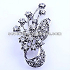 Latest Cooper Alloy Brooch Flower Design with Crystal, 2012 Fashion new style Brooch