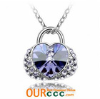 Fashion Bag Shaped Diamond necklaces - Purple