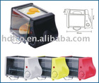 Mini electric toast oven with frying egg and baking bread