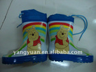 kid's winnie the pooh printing half boot rubber material fashion rain boots