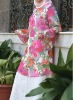 YYH-JB0018 Wholesale Fashion Pastel Flowers Print Flared Robe Arabe Abaya Top