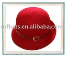 Ladies leather and button red 100%wool up brim felt hat