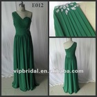One shoulder beaded ruffle chiffon emerald green evening dress