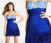 2012 short strapless jeweled beads on the bodice handmade flower Graduation Dresses OLC089