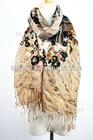 fashion printed pure yellow wool scarf