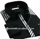 2013 new men's contrast color checked dress shirts with long sleeves
