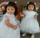 Hard to resist high collar white tulle ankle length ball gown short sleeve multi-layers zipper flower girl net dresses