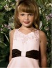 Beautiful Pink A-line Appliqued Satin Flower Girl Dresses