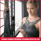 2012 Best Selling ! Sexy Floor-Length Sheath Elegant Halter Chiffon Western Party Wear Dresses ! Customized Is Available !