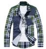 Leisure Check Design Long Sleeves Lapel Man Shirt Blue QZ12092501