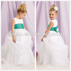 2012 Chic Empire Waist Satin and Organza Pleated Baby Clothes with Bowknot on the Back