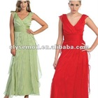 Vintage A-line V-neck Red Chiffon Layered Evening Gowns