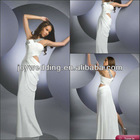ND004 Pure white discounts One shoulder heavily beaded side drape opening Jersey maxi dress for prom
