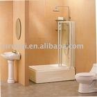 3- door linked folding tempered glass bathtub screen