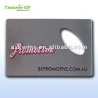 Promotive credit card bottle opener