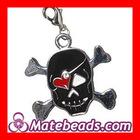 Cheap Alloy Enamel Black Skull Charms For Bracelet Wholesale