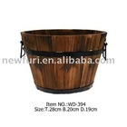 round wooden barrel plant pot