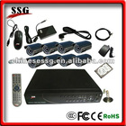 Residential security system H.264 DIY CCTV DVR Kit with 8-channel DVR, 8 Cameras built in GSM burglar alarm system
