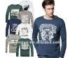Men T shirts long sleeve print letter or animal O neck plain tees
