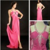 Elegant Gown A-line Scoop Neck Sleeveless Elastic Satin Prom Long Dress