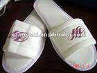 Cotton material terry velvet logo printed white hotel slippers