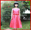 Sleeveless round neck rose flower satin girl dress