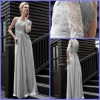 Charming Dresses Evening One-Shoulder Long Sleeve Ruffle Beaded Sheath Chiffon And Lace SE-005