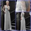 Charming Dresses Evening One-Shoulder Long Sleeve Ruffle Beaded Sheath Chiffon And Lace SE-005