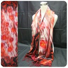 rose digital print silk scarves with tassel for winter