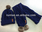 Fashion Wool Knitted Winter Faux Fur Pompoms Hat Scarf Set