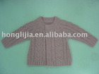 rounded 2 buttons long sleeves children's sweater