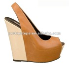 Pretty Steps 2012 Guangzhou wholesale high quality multicolor patent/suede peep toe women wedge 2012