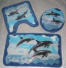 Printed acrylic bath mat set