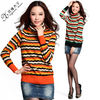 Color blocking high neck fashion knitted sweater 68055
